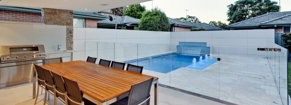 Compass Pools Sydney Fibreglass pool with 2 water features